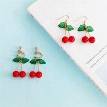 3 * japonés y coreano dulce moda jovencita estudiante frutas pendientes de cerezas frescas y Simple lindo mujeres pendientes Clips de oreja