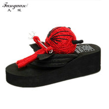 2017 Summer Women Slippers Cute Voodoo Doll High Wedge Platform Sandals Casual Flip Flops Handemade Fancy Slippers