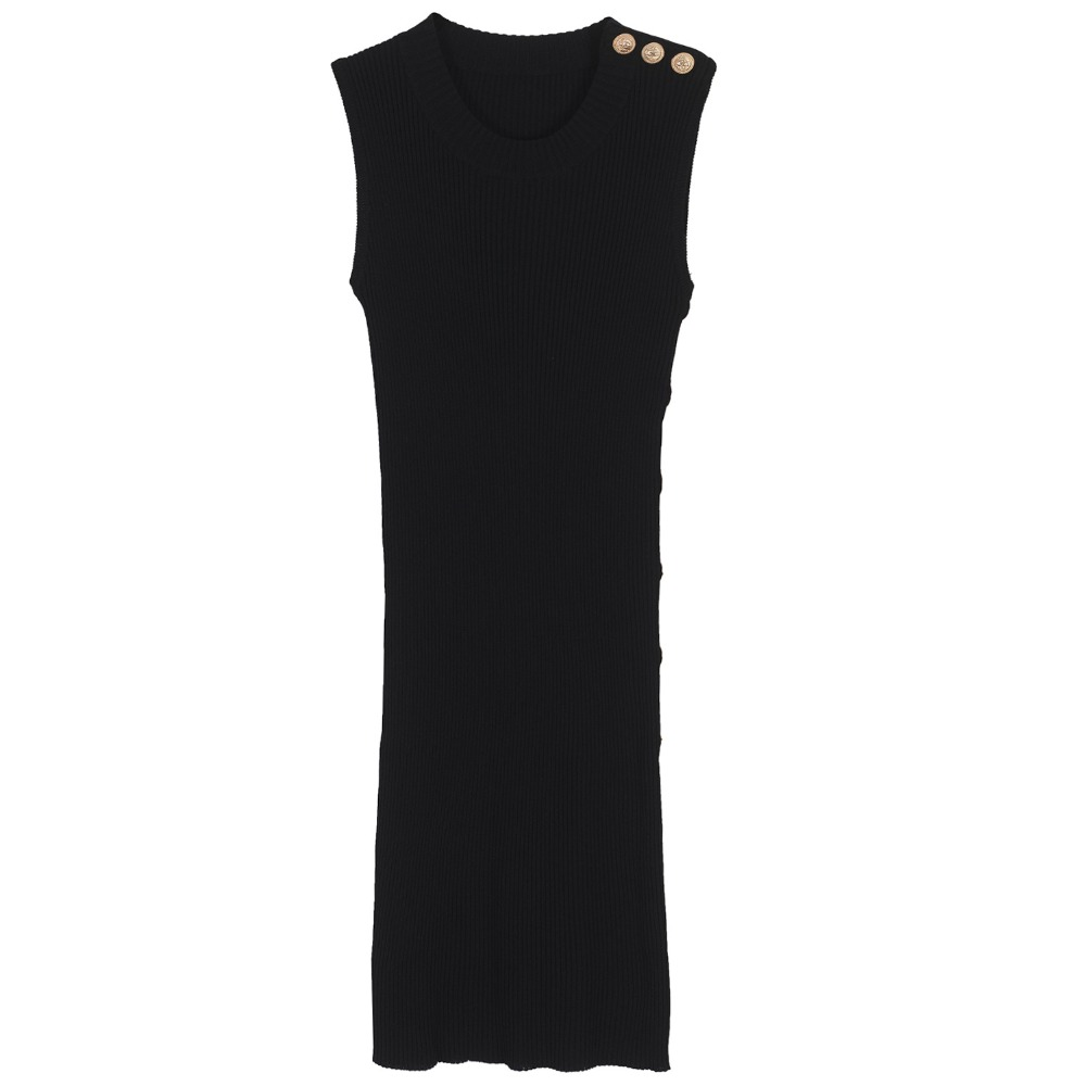 2017 brand fashion women s high end luxury metal buckle decorated sleeveless knitted vest Slim black