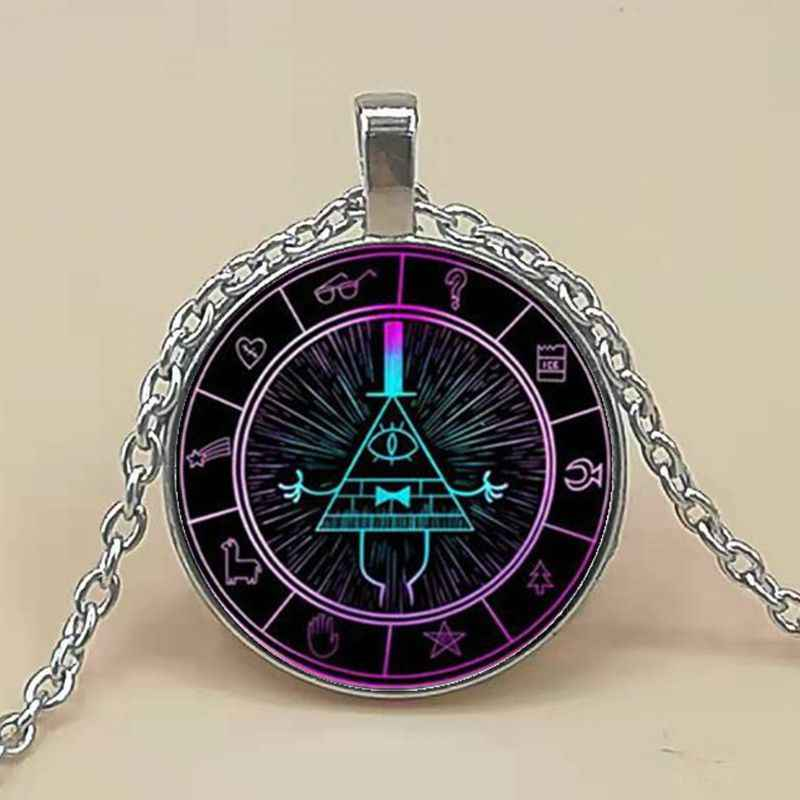 Anime Gravity Falls Necklace Bill Cipher Wheel Mysteries Pattern Glass Dome Pendant Long Necklace Cosplay Collection Gift