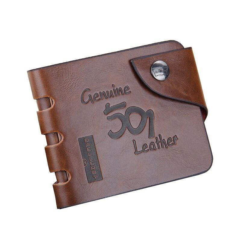 Baellerry Leather Vintage Wallet Men Money Bag Purse Hasp Clutch Card Holder Hollow Out Wallet Men Coin Pocket Carteira W014