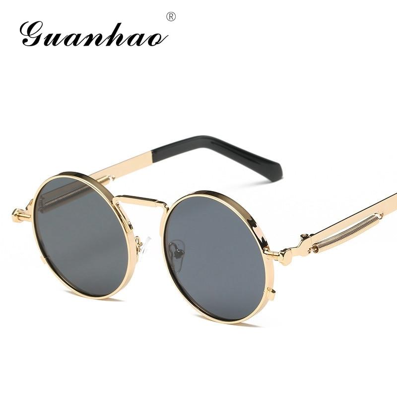 Steampunk من بارد نظارات الشمس مرآة معدنية ريترو خمر جولة نظارات الرجال النساء نظارات ظلال uv400 oculos دي سول