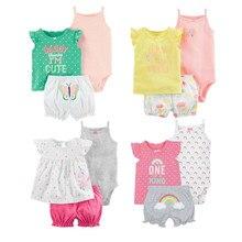 Коллекция года, модные летние комплекты с короткими рукавами для малышей, одежда для маленьких девочек хлопковый комплект одежды для девочек из 3 предметов, одежда для малышей