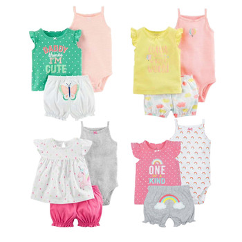 0773d9114 Moda 2019 Orangemom de verano de manga corta conjuntos de bebé para bebé  niña ropa 3 pc niñas de algodón conjunto de ropa de niño ropa de bebé