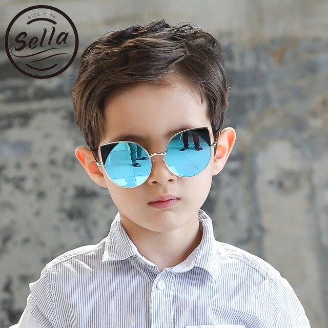 f5149be16deda Sunmmer Sella Novo Cateye Moda Crianças Óculos De Sol Da Lente do Espelho  Óculos de Sol