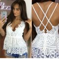 Summer Sexy Women V Neck Lace Casual Women Lace Sleeveless T-Shirt Top Blouse 2016 New
