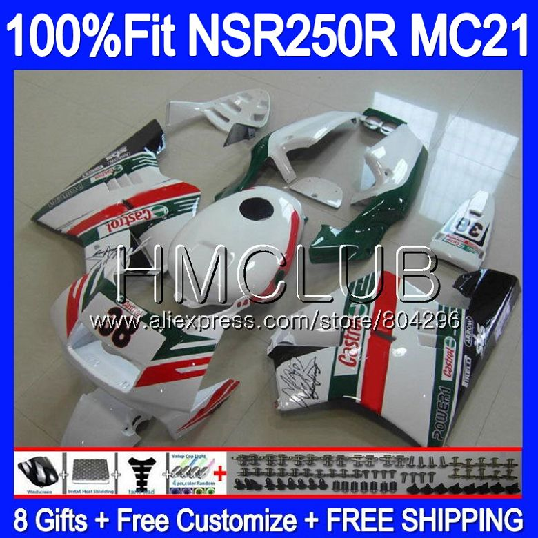 Injection For HONDA <font><b>NSR</b></font> <font><b>250</b></font> R Green white MC21 PGM3 NSR250R 90 91 92 93 94HM.22 NSR250 R NSR250RR 1990 1991 1992 1993 Fairings image