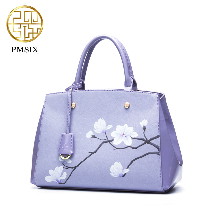 Pmsix  2017 Women Cow split Leather Bags Luxury Women Flower Print Handbag Cowhide/Purple/Blue P120032 the purple cow магнитная игра магнитные буквы английские the purple cow