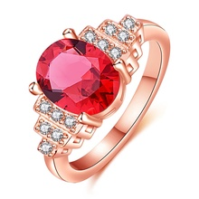 hot deal buy oval red crystal rings women jewelry rose gold wedding rings couple trapezoid white cubic zircon 2018 hot sale wedding bands