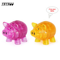 YNYNOO 94 Pcs DIY Funny Pig 3D Crystal Puzzles Animal Assembled Money Bank Can Multifunctional Toys