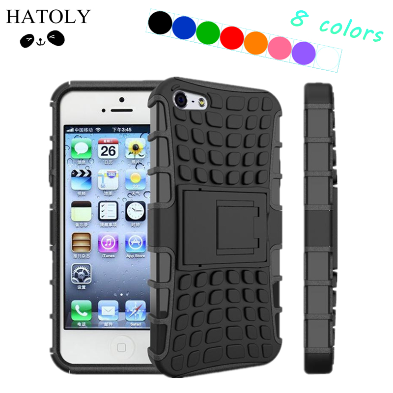 For iPhone 5s Kickstand Case Heavy Duty Armor Shockproof Hybird Hard Soft Silicon Rugged Rubber Case Cover For iphone 5 5s
