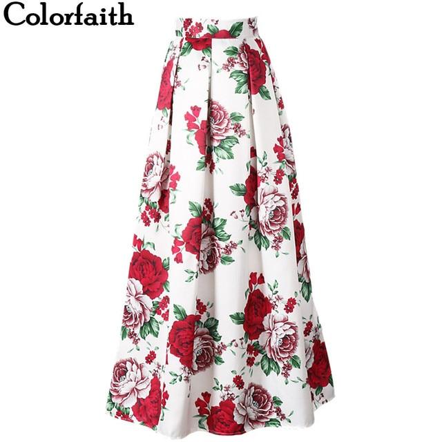 7232b8d719cc Colorfaith 2017 Satin Women 100cm Flared Maxi Skirts Retro Floral Printed  Pleated Floor-Length Puff Long Skirts Tutu Saias SP036