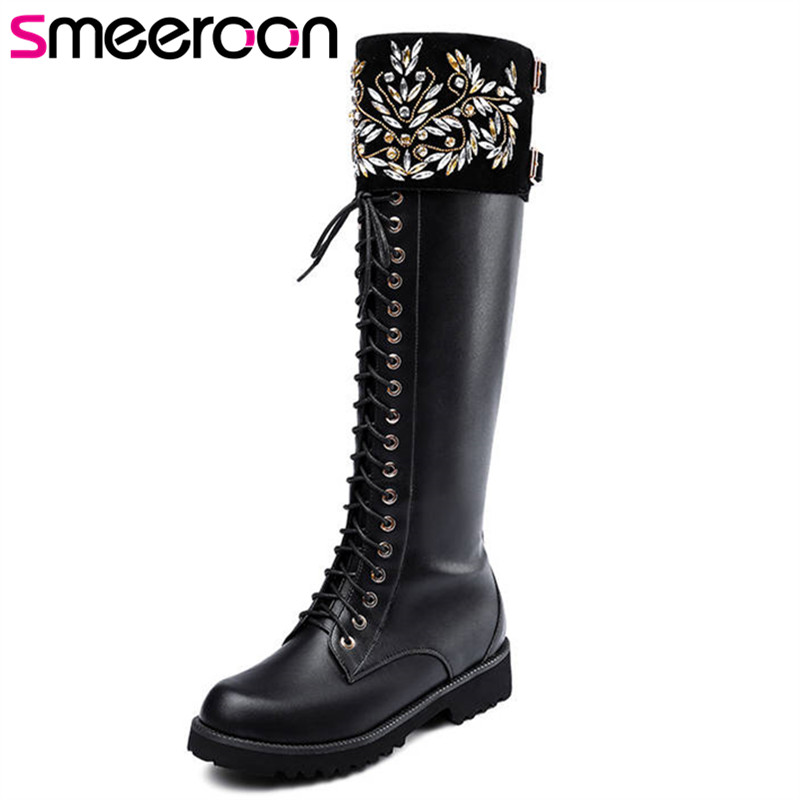 Smeeroon 2018 hot sale knee high boots women round toe genuine leather boots lace up zip autumn boots comfortable shoes woman Smeeroon 2018 hot sale knee high boots women round toe genuine leather boots lace up zip autumn boots comfortable shoes woman