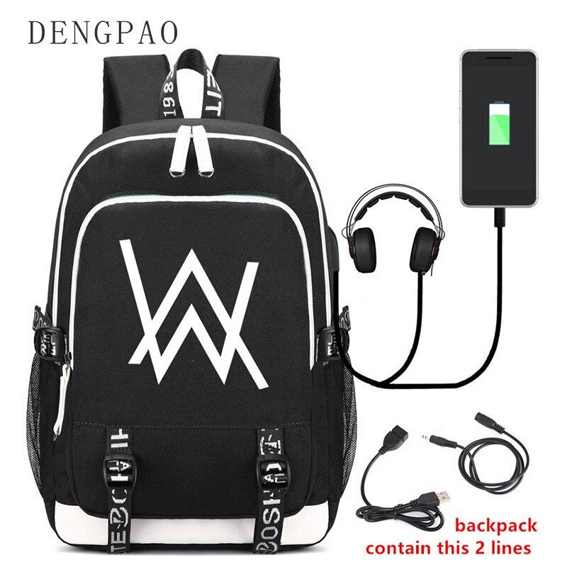 DENGPAO Alan walker fashion Laptop waterproof USB backpack women bagpack male satchel female sac a dos