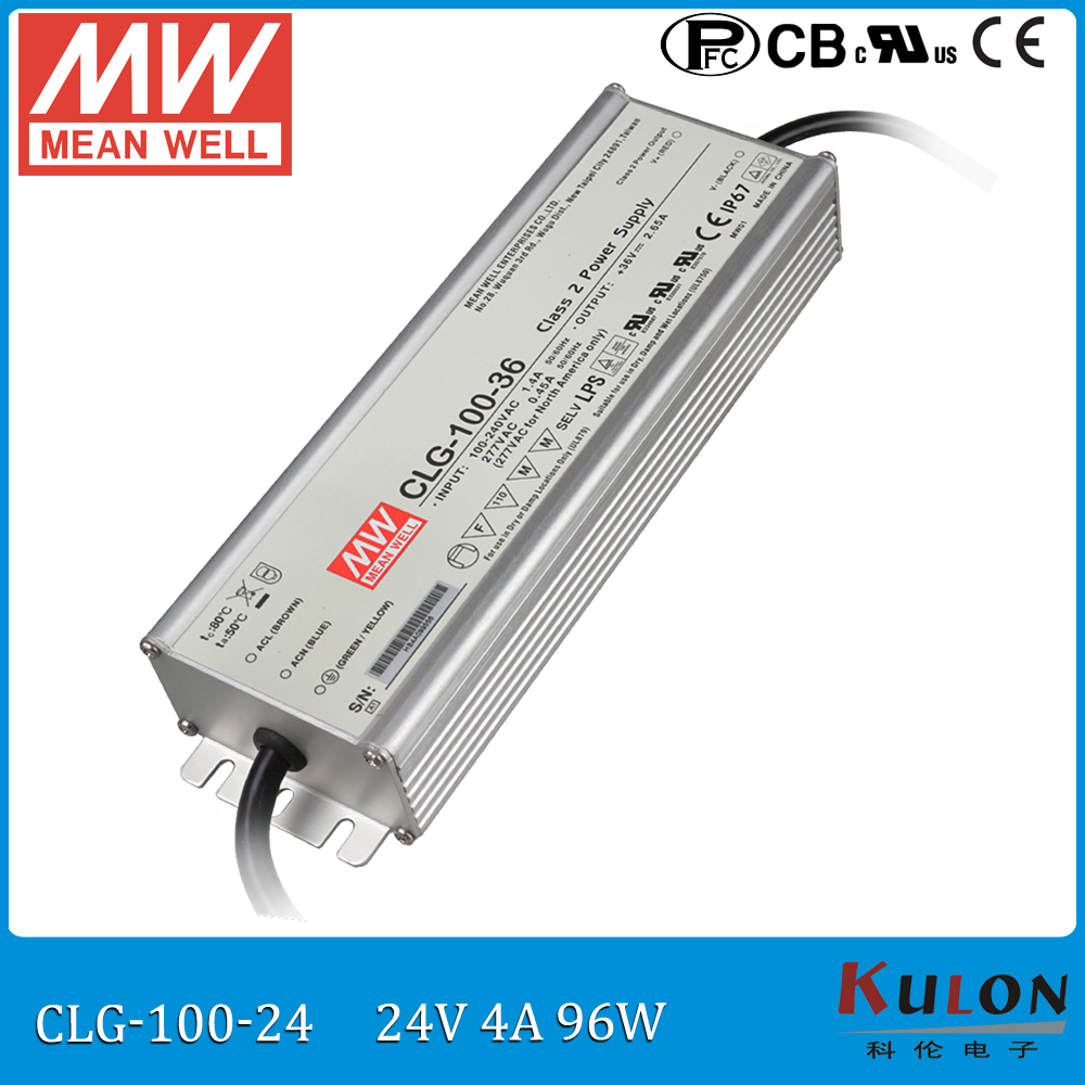 100W 4A 24V LED power supply Meanwell CLG-100-24 mean well 24V waterproof led driver IP67 with PFC meanwell 12v 100w ul certificated clg series ip67 waterproof power supply 90 295vac to 12v dc