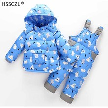 2018 модная зимняя одежда для детей комплекты для детей со штанами детский лыжный костюм, комбинезоны для малышей, Пуховик для девочек и мальчиков Теплый зимний костюм, куртки   комбинезоны 2 шт./компл.