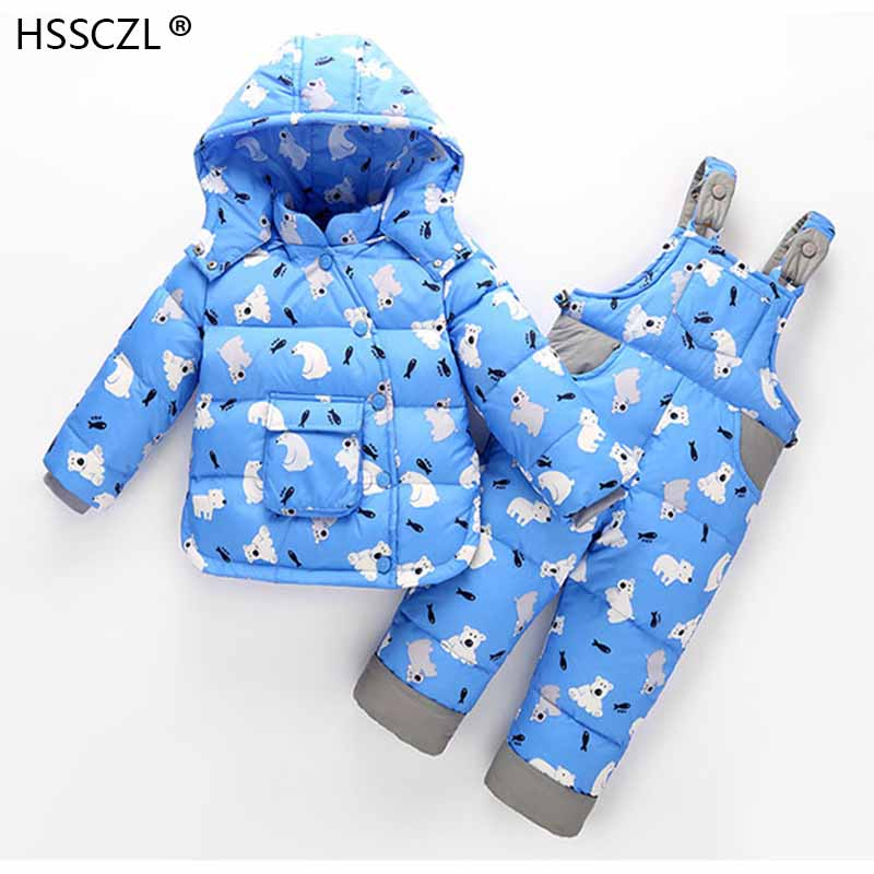 2018Fashion Children Winter Down Sets Kids Ski Suit Overalls Baby Girls Boys Down Coat Warm Snowsuits Jackets+bib Pants 2pcs/set цена
