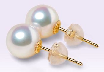 AAA 10-11mm Akoya white pearl earrings 14K Yellow Gold push backing