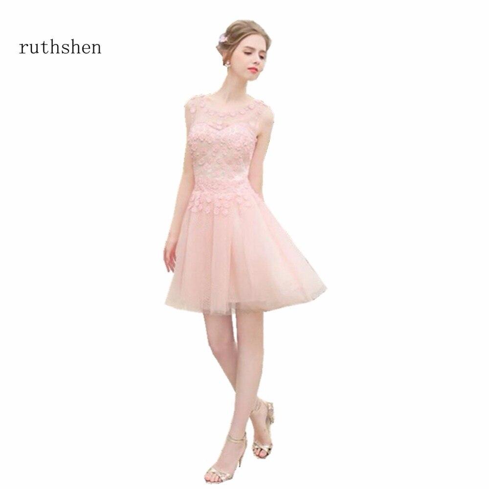 ruthshen Baby Pink Short Bridesmaid Dresses Cheap Tulle Sleeveless ...