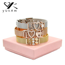 YUKAM Jewelry Keys Lock Crystal Love Heart Slide Charms Mesh Keeper Bracelets Life Tree Blessed Mom Bracelets for Women with Box(China)