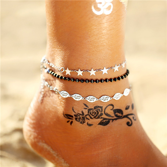 Vintage Silver Leaves Star Anklet Set For Women Gold Heart Beads Anklets 2019 New Bracelet On Leg Beach Jewelry Drop shipping