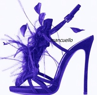New Arrival Blue PU Leather Buckle Style Heels Sexy Blue Feather Decorated Slingback Stiletto Heel Dress Sandals Party Shoes