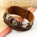 Bluelans Men Vintage Braided Leather Bracelet Punk Star Rope Multilayer Warp Cuff Bangle
