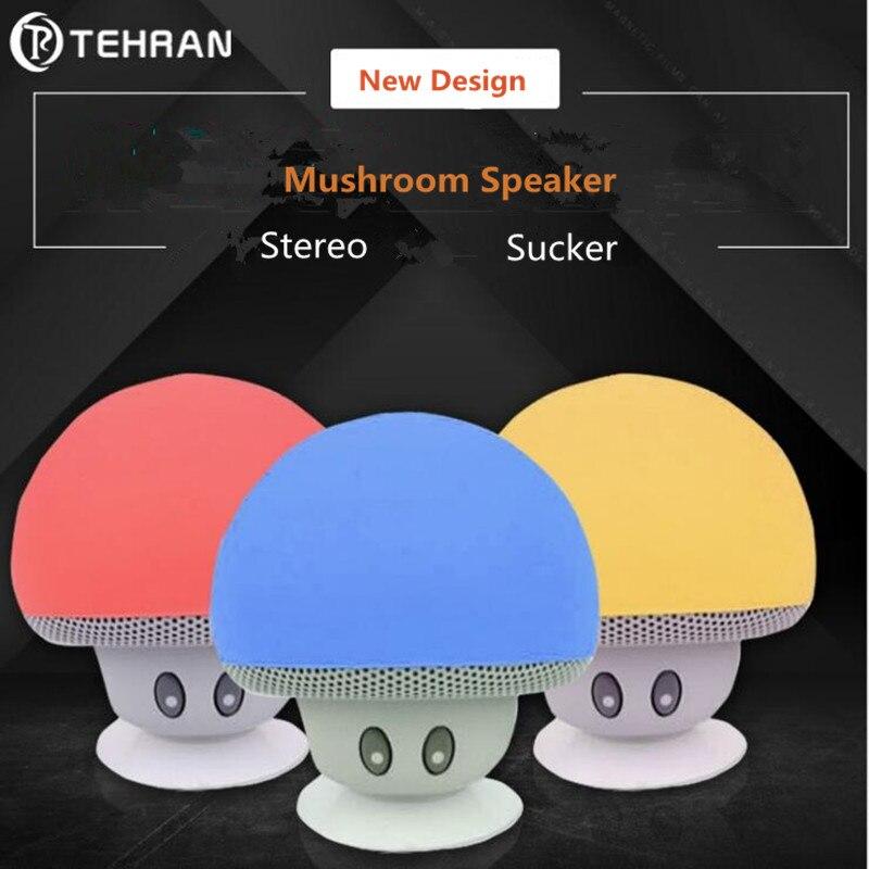 New Dsign Cartoon Mushroom Wireless Bluetooth speaker Portable Mini Sucker Bluetooth Speakers Audio outdoor Portable MP3