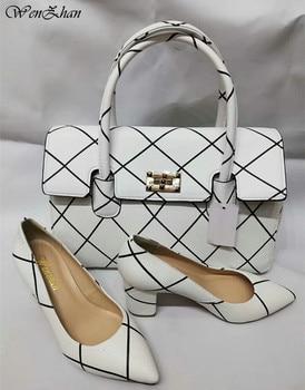 WENZHAN/женские туфли-лодочки на мягком каблуке с сумочкой в комплекте, элегантные белые туфли на тонком каблуке с острым носком и сумочкой, A84-17