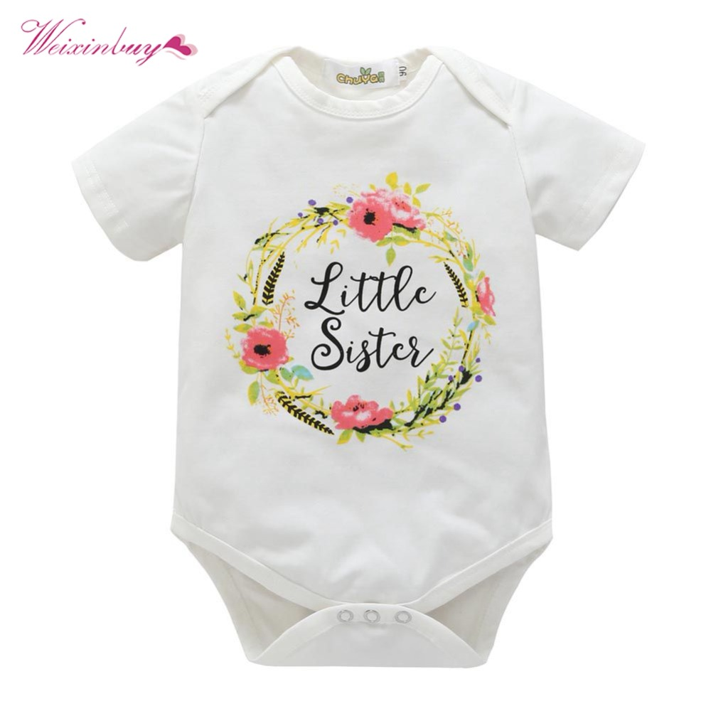 WEIXINBUY spring New baby Sisters clothing Baby white Long Sleeve printed Floral Tops Romper newborn baby clothes set