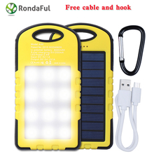 New 8000 mAh Solar Power Bank  USB External Battery For Iphone Samsung With LED Light+Cable Portable Travel Outdoor Phone Charge