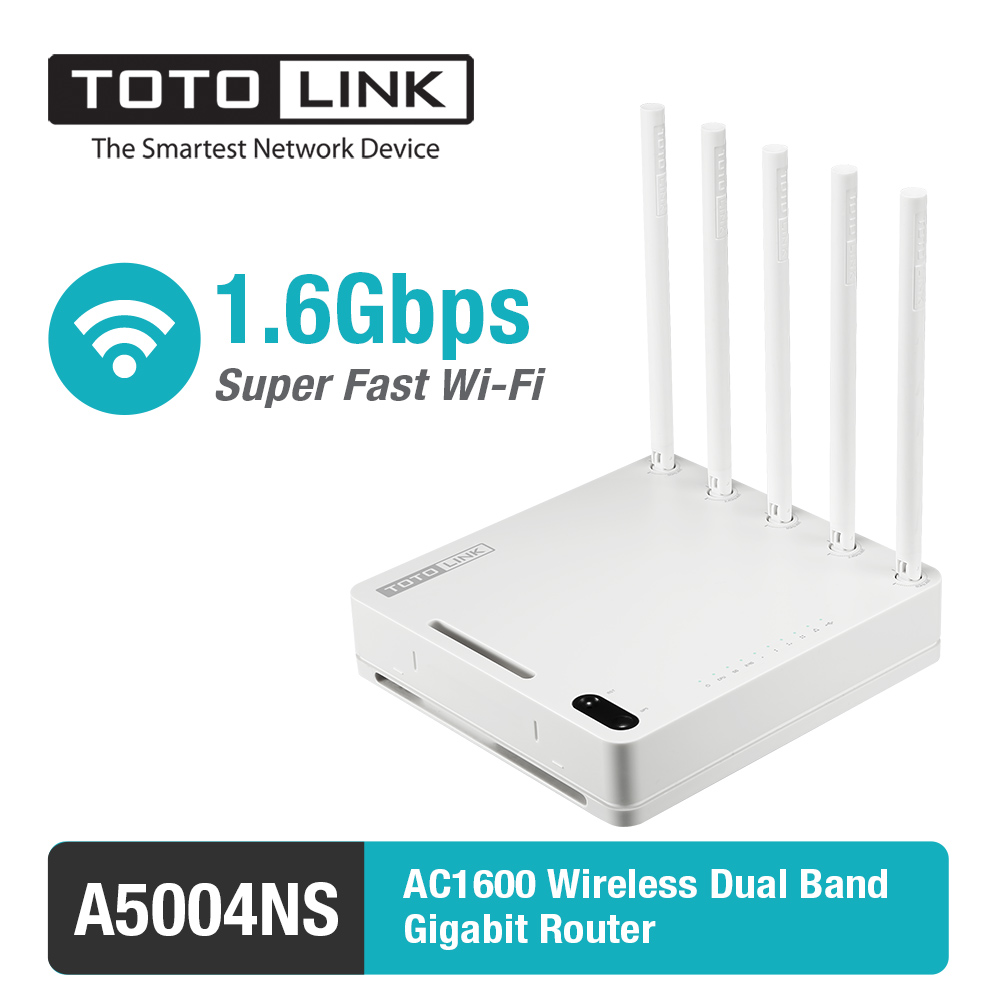 TOTOLINK A5004NS 11AC 1600Mbps Wireless Dual Band 2.4GHz & 5GHz Gigabit VPN Router, USB Router, English Firmware totolink a850r 1200mbps двухдиапазонный беспроводной маршрутизатор gigabit router