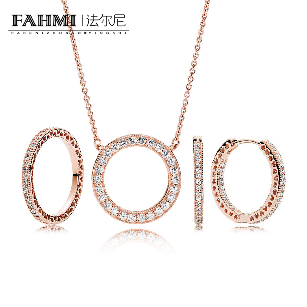 FAHMI YCS 100% 925 Sterling Silver Rose Radiant Hearts Gift Set Necklace Charms rings Fit DIY Original Jewelry A Set