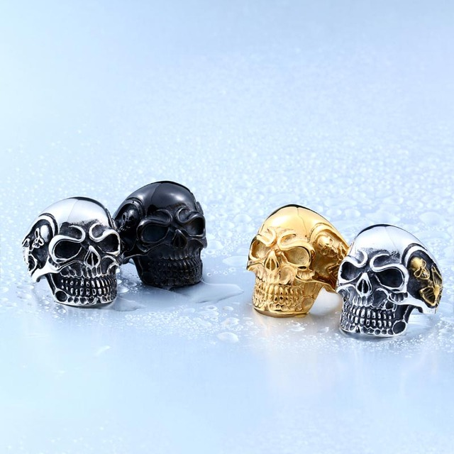 Biker Skull Ring For Men Stainless Steel