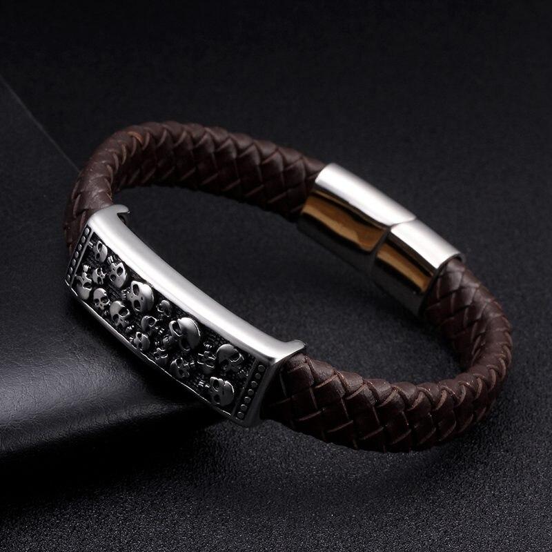 Vintage Braided Wrap Brown Genuine Leather Men Cuff Bracelet Bangles Male Gothic Magnetic Skull Charm Bracelets Pulsera