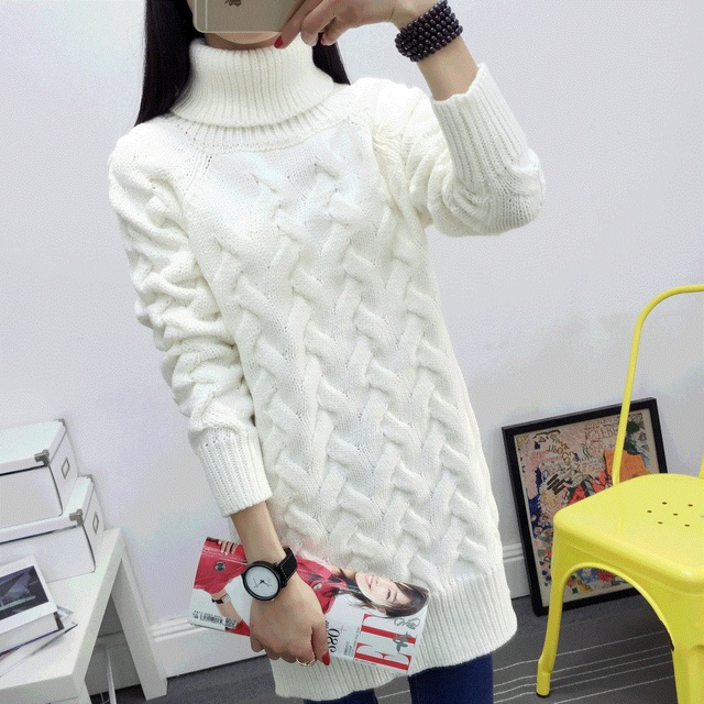 2016 Autumn winter sweater women thick loose high collar long sweater feminine long sleeve bottoming pullovers female