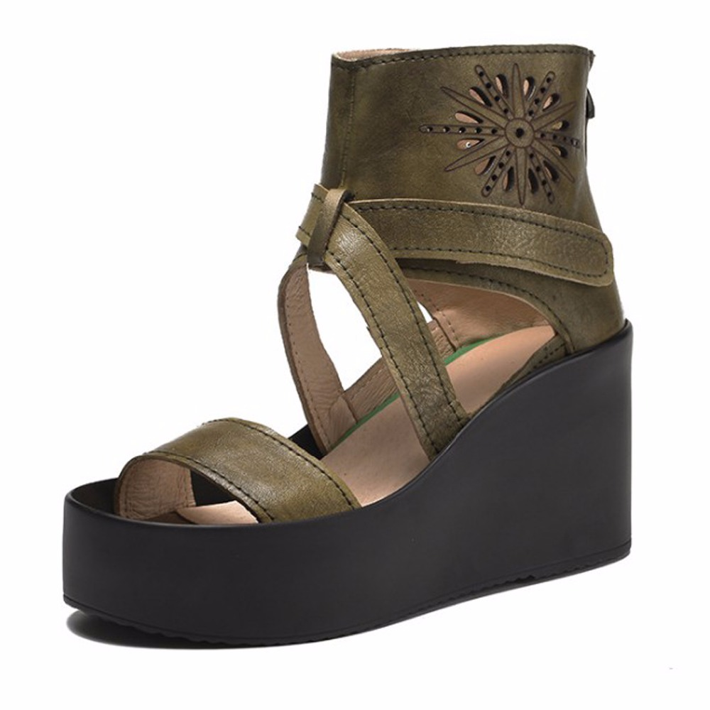 ФОТО 2017 Brand New Genuine Leather Zipper Handmade Summer Shoes Womens Sandles High Quality Zapatos Mujer Medium Heel Platform