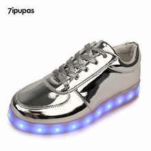 7ipupas Shining Luminous Casual LED Shoes men with Lighted for Adults Light Up Shoes led Unisex USB Charging silver Glowing Shoe