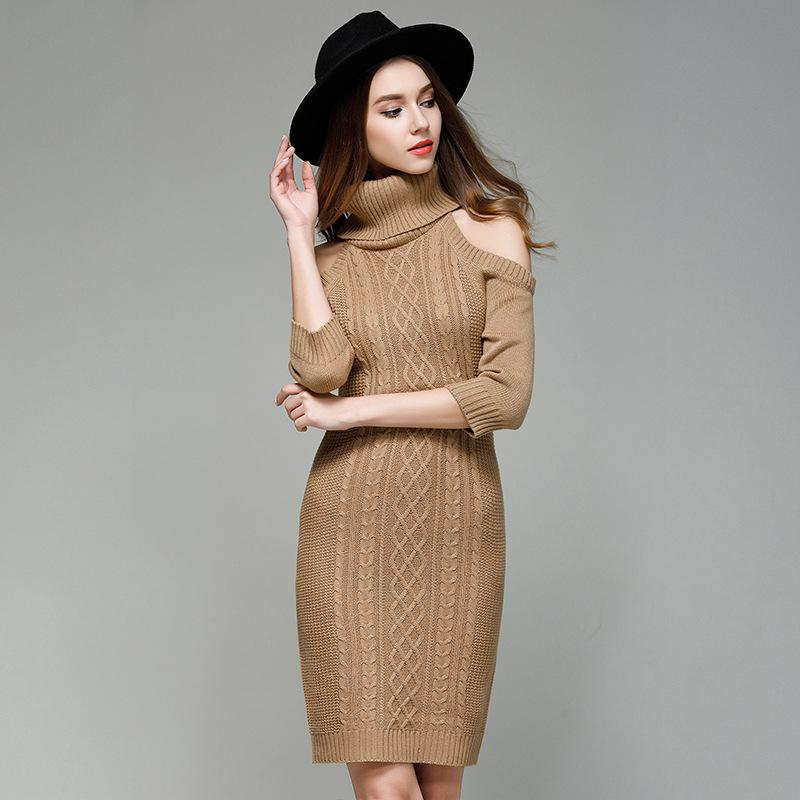 7bd39629a3a Winter Women Sweater Dress Cold Shoulder Turtleneck Knitted Sexy Bodycon  Vestido Solid Color Slim Pullovers Dresses Office Wear-in Pullovers from  Women s ...