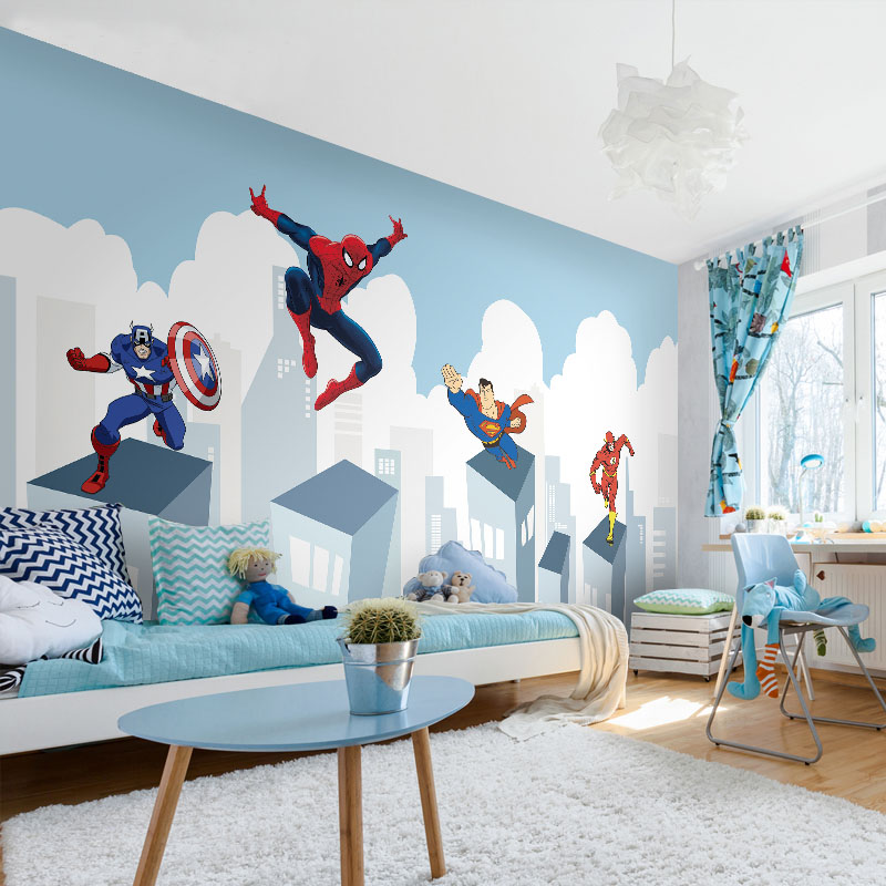 Tuya Art Discount Superhero Avengers Wallpaper on the Wall for Kids Room Nusery Room Bedding Home Decor Free Shipping pure green mountain art wallpaper mural on the wall for kid s room wallpaper nursery room wall decor free shipping