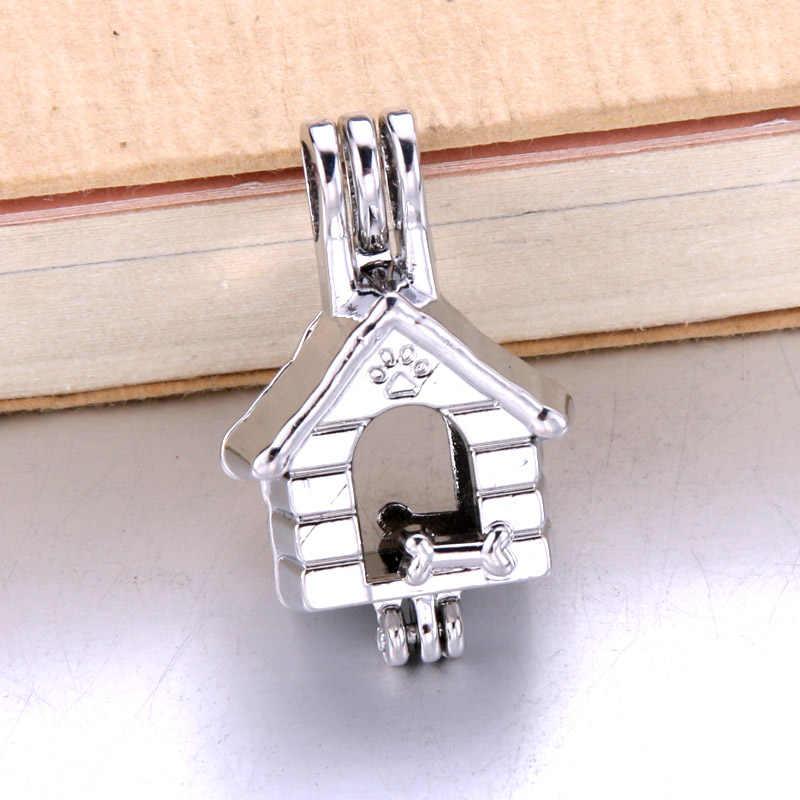 6pcs Silver Doghouse กรงไข่มุกเครื่องประดับทำลูกปัดจี้น้ำมันหอมระเหย Diffuser Locket สำหรับ Oyster Pearl ของขวัญสนุก