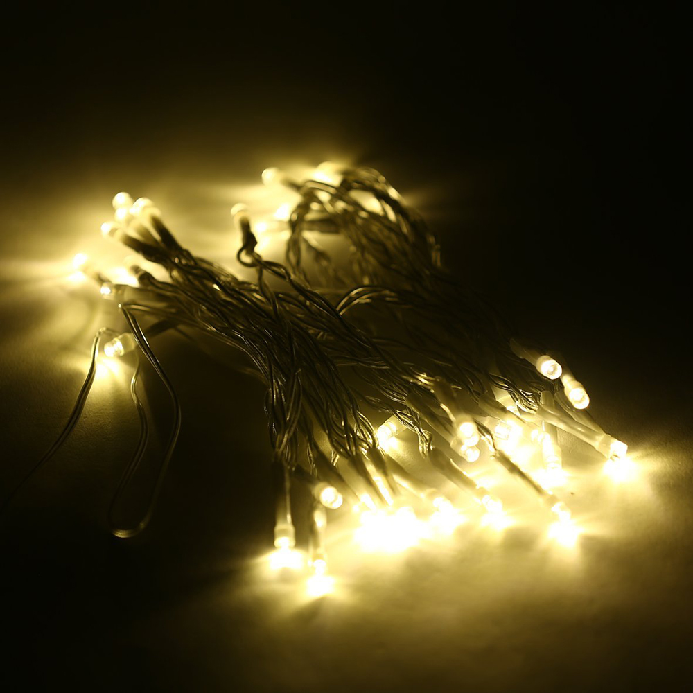 Hote sale 5m 50 led battery led string light 3pcs aa for 160 net christmas decoration lights clear