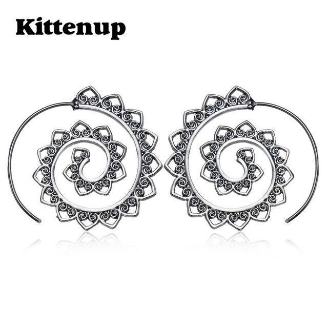 cb51393cd Kittenup Fashion Hollow Swirl Hoop Gypsy Indian Tribal Bohemian Earrings  for women Boho Spiral Jewelry
