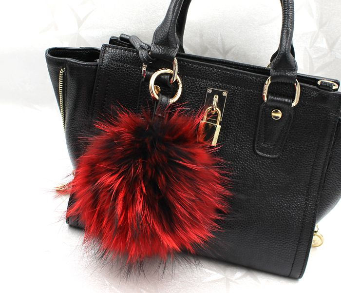 13 cm large puffs fox fur ball purse charm tote accessories plush real fox fur keyring