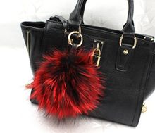 13 cm large puffs fox fur ball purse charm tote accessories plush real fox fur keyring fuzzy big pompoms keychains bag charm