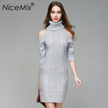 NiceMix 2019 Winter Turtleneck Knitted Sweater Dress Women Sexy Off Shoulder Sweaters and Pullovers Slim Female Dresses Vestidos