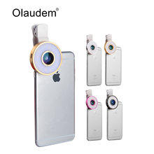 LED Selfie Light Fill-in light +0.65X Wide Angle Lens + 10X Macro Lens + 185 Degree Fisheye Lens Kit  For iPhone Samsung LP1328