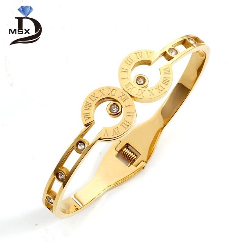 Gold Plating BraceletsBangles CZ Roman Letter Engraved Cuff Wristband Engagement Wedding Party Jewelry Gift