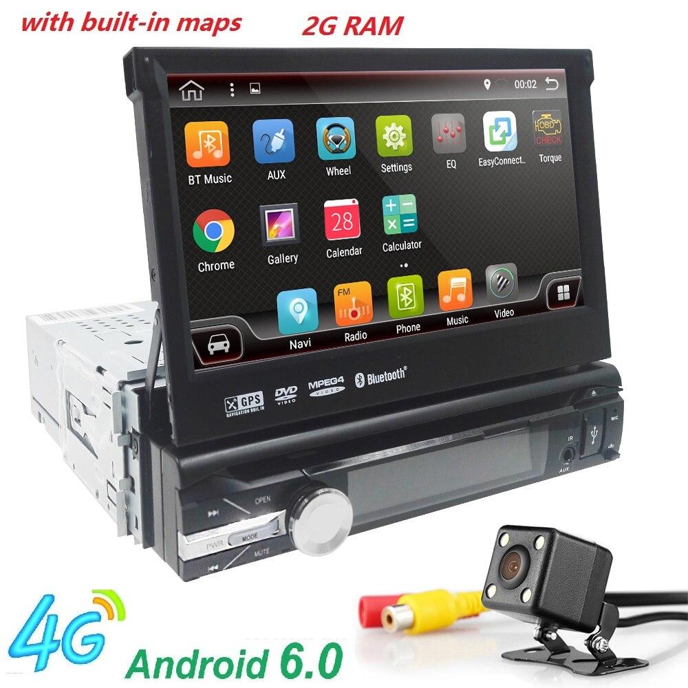Android 6.0 HD 1024*600 Car DVD Player Radio For Universal Car Radio <font><b>Monitor</b></font> 4G WIFI GPS Navigation Head Unit 1din 2G RAM RDS BT