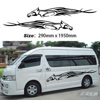 2pcs Car Decal Vinyl Tattoo Flames Door Graphics Side Car Stickers Running Horse Stripe Wall Stickers